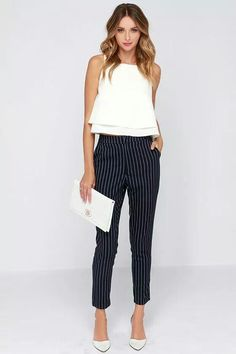 Sunday Girl Navy Blue Striped Pants - Outfits for Work - Business Attire Dresscode Smart Casual, Business Casual Outfits, Office Outfits, Classy Outfits, Cute Outfits, Office Wear, Navy Outfits, Stylish Outfits, Business Outfit Frau