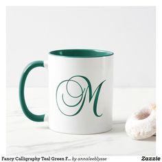 Fancy Calligraphy Teal Green Foil M Monogram Mug M Monogram, Monogram Gifts, Holiday Cards, Christmas Cards, Fancy Hands, Teal Green, Christmas Card Holders, Hand Sanitizer, Keep It Cleaner