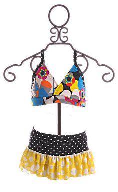 Frankie and Daisy Girls Suit Tinikini Yellow Geometric Flower $20.00