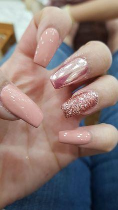 nude nails with glitter #nude #nails #glitter #nudenails #glitternails