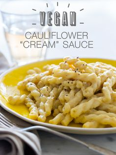 "Vegan Cauliflower ""Cream"" Sauce - spoon fork bacon. Looks simple and doesn't include weird ingredients. Yum! And could be used over other veggies and perhaps quinoa for gluten free"