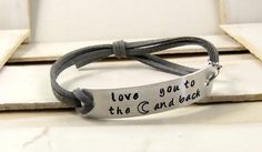 Love You To The Moon and Back Hand Stamped Bracelet by MudandRoses, $14.00