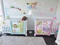 unique nursery room ideas for baby bedroom Twin Baby Rooms, Baby Crib Bedding Sets, Twin Babies, Baby Bedroom, Nursery Bedding, Kids Bedroom, Baby Twins, Twin Nurseries, Girl Bedding