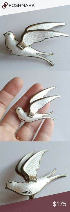 VTG Peace Dove Bird brooch silver Bernard Meldahl Lovely Peace Dove brooch pin - white guilloche enamel on solid sterling silver - made by Bernard Meldahl of Norway in around 1950s - in nice condition with a few parts of enamel loss and age patina to the silver, still gorgeous, wearable, and a collectible piece of Norwegian enamel jewelry. -from a smoke free home- reasonable offers are welcome!  FAWNi81588DOVE888 Vintage Jewelry Brooches