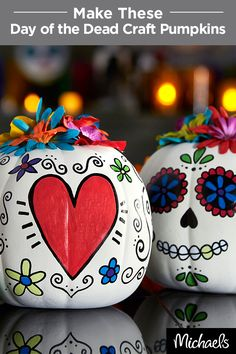 Celebrate Dia de los Muertos with colorful Day of the Dead craft pumpkins. Download the template from Michaels.com and trace designs on your craft pumpkin. Color in the designs with paint pens and hot glue flowers on top. Find everything you need for this craft at your local Michaels store.