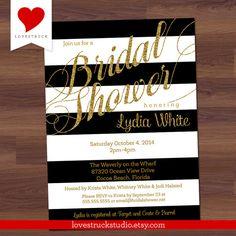 Glitter Bridal Shower Invitation  Black and by LoveStruckStudio