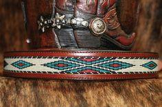Beaded Leather Dog Collar