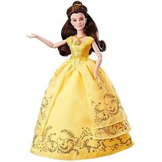 This Enchanting Ball Gown Belle doll is radiant with beauty and grace in her golden gown inspired by her outfit in Disney's live-action movie Beauty and the Beast. Kids can reenact the special movie moment when Belle descends the grand staircase e. Princess Beauty, Princess Ages, Princess Belle, Disney Princess, Princess Tutu, Princess Dresses, Disney Belle, Disney Live, Disney Fun