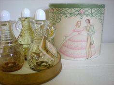 Antique Perfume Bottles in Original Packaging, Virginia Reel Trio, Photo Prop Set Photography, Vanity Dresser Display Decor by chloeswirl on Etsy Vintage Vanity, Retro Vintage, Vintage Items, Antique Perfume Bottles, Vintage Perfume, Virginia Reel, Vanity Set, Vanity Tops, Scarf Display