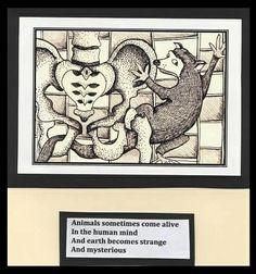 *Weasel Climbing Wall - Pen Drawing: animals, skeleton, bones, pelvis, words, poetry.