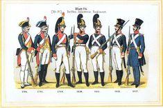 Plate 26: 3rd Infantry Regiment, 1794-1817 by Leo Ignaz von Stadlinger - Geschichte des württembergischen Kriegswesens - Uniforms of the troops of Württemberg