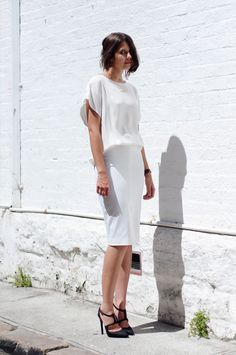 White dress. I absolutely LOVE this draping and cut for a work outfit or after work cocktails.