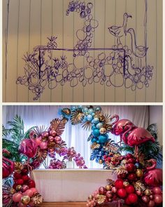 From conception to reality: thankfully our balloon skills are better than our sketches. Diy Party Decorations, Balloon Decorations, Birthday Decorations, Blowing Up Balloons, Confetti Balloons, Baloon Garland, Qualatex Balloons, Amazing Decor, Tropical Party