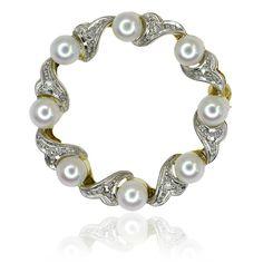 Diamond Pearls Brooche  Diamant-Perlen-Brosche mit 8 Zuchtperlen und 0,055ct Diamanten
