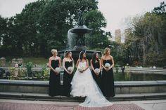 Pnina Tornai ball gown and black bridesmaid dresses | Cottonwood Studios