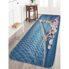 $11.95 Nautical Fishing Net Wood Grain Tower Bath Rug - Light Blue - W16 Inch * L47 Inch