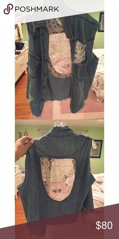 distressed and crochet LF denim vest this distressed and crochet LF denim vest is amazing for ALL seasons. style it with a tank top or crop top in the spring and summer and sketch a long sleeve top underneath in the fall and winter. it had only been worn once and it really cute and trendy. LF Jackets & Coats Vests