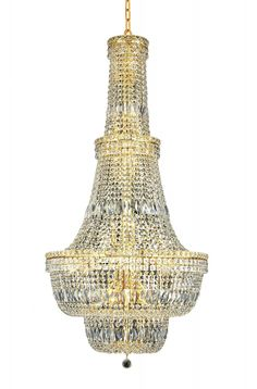 Elegant Lighting - 2528 Tranquil Collection Large Hanging Fixture D28in H56in Lt:34 Gold. Add a touch of class to your home with the Tranquil Collection. Tapered layers of spear point crystal are accented with bands of emerald cut and baguette crystals. A ring of candelabra bulbs tucked inside bring this look to life.Specifications:  Style Transitional   Collection Tranquil    Chain/Wire Included  5 ft.    Light Blubs  34    Bulb Type  E12    Bulb Wattage  40    Max Wattage  1360    Voltage…