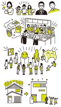 People in museum, market and street Japan Illustration, Simple Illustration, Web Design, Vector Design, Chart Design, Business Cartoons, School Murals, Japanese Poster, Graphic Design Typography