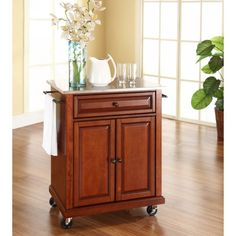 crosley stainless steel top portable kitchen island cart