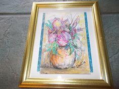 Original pastel floral painting direct from Texas artist lots of pinks blue and purple signed framed under glass 9.5x11.5 by UINMIND on Etsy