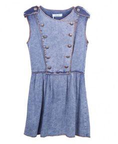 Double Breasted Sleeveless Dress with Epaulettes
