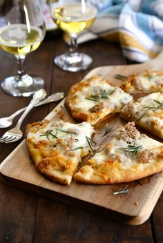 Pumpkin Naan Pizza with Gruyere and Fresh Herbs