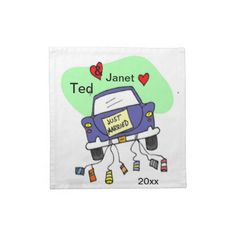 Just Married Car Printed Napkins.  Just married car complete with cans! Perfect for weddings. Initials and dates can be changed