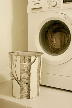 wallpaper trash can makeover