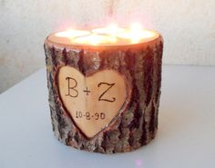 Wood Stump Candle Holder Candle Holder with 4 by forestinspiration