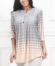 Another great find on #zulily! Pink & Gray Gradient Dot Notch Neck Tunic - Plus #zulilyfinds