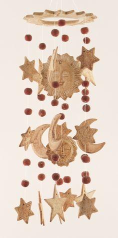 ceramic wind chimes - sun, moon & stars