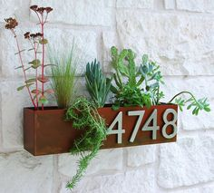 Welcome Home. This modern address plaque and trough wall planter adds flair and style to the facade of your home with aluminum address numbers. Looks particularly great with colorful succulents! This planter is made to order in Austin, TX and is constructed of 14 gauge steel with a hand-finished and sealed rust patina. Due to the nature of iron and the hand-finish we provide, unique variations will occur. As with all iron, rusting will occur, the sealant used will slow the process but will…