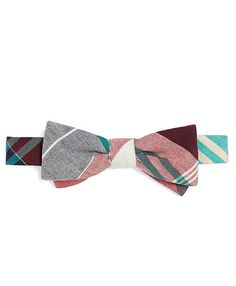 RED MADRAS LARGE PLAID BOW TIE