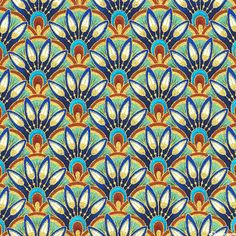 Alexandria - Royal Lotus Blossoms - Multi/Gold. Fabric from eQuilter.com