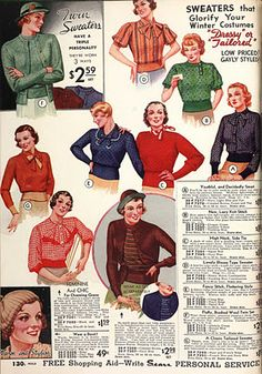"""A lovely array of sweaters """"that glorify your winter costumes""""."""