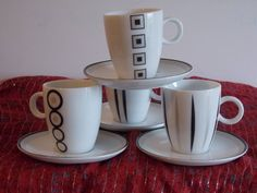 A set of Maxwell Williams coffee tass and saucers. Designer fashion. by ByGoneEraEmporium on Etsy