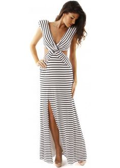 This Forever Unique Kelsey maxi dress is an effortlessly striking evening style. The fabulous black and white stripes are offset by the striking cutaway detail and dramatic shoulder pads. Simply add chandelier earrings and an embellished clutch for a glamorous black tie ensemble.