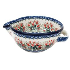 Polish Pottery Handmade 40oz Mixing Bowl Traditional Pattern Red Tulips