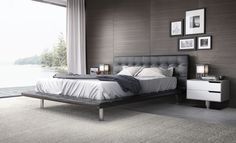 The NEW Howard bed by Modloft features an eye-catching yet unobtrusive floating design which seamlessly integrates with any contemporary interior. Semi-gloss bicast leather finish (jet black or oyster white) offers an intriguing hint of sheen. Shown with new Park nightstand. All available in our quick-ship program for immediate delivery.