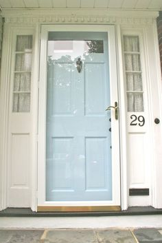 Front door repainted with Martha Stewart Waterfall by Glidden