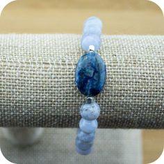 Blue Lace Agate Wrist Mala Bracelet with Lapis Lazui