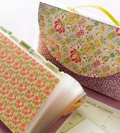 Dress up expandable folders with pretty paper!