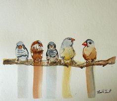 Birds by Horváth Zsanett watercolor akvarell