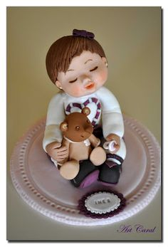 "*SUGAR ART ~ CARAL ART DESIGN IN SUGAR: FONDANT CAKE BABY ""INES"" WITH TEDDY"