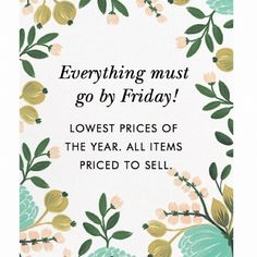 CLOSET CLOSING FRIDAY! BUY NOW FOR GREAT DEALS Everything must go by FRIDAY!! All items are at lowest prices of the year. Don't miss out! Other