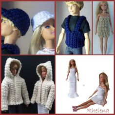 Free Barbie crochet patterns. Most patterns are for Barbie, but there are also a few for Ken to enjoy as well.