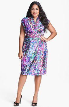 Suzi Chin for Maggy Boutique Stripe Jersey Faux Wrap Dress (Plus Size) | Nordstrom