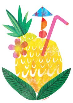 Illustrated Pineapple, printed on environmentally friendly recycled card. Illustrated by Emily Nelson using water colour, digital collage and photography. Food Illustrations, Illustration Art, Aesthetic Objects, Paper Collage Art, Graphic Quotes, Pineapple Print, Chalkboard Art, Kids Prints, First Birthday Parties