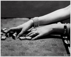 art deco jewelry and hands playing the Chinese game of mah jong Jan. 1925 photo by Edward Steichen